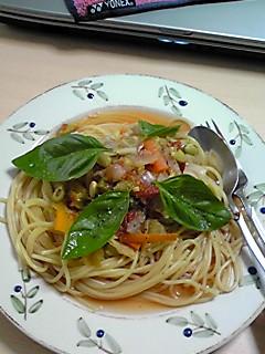 野菜スープパスタ